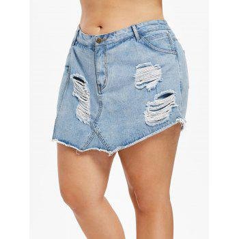 Plus Size Frayed Torn Denim Shorts - DENIM BLUE 5X