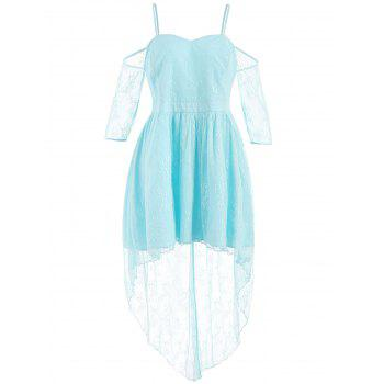 Plus Size Lace High Low Dress - LIGHT SKY BLUE 3X