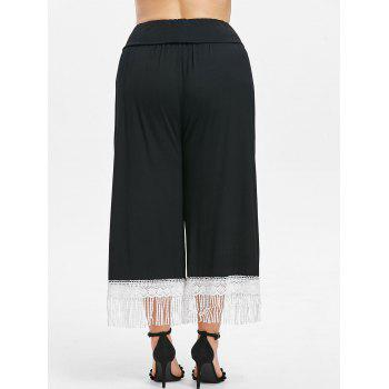 Plus Size Lace Hem Wide Leg Pants - BLACK L