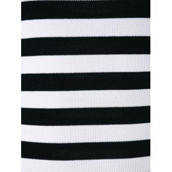 Off Shoulder Striped Knitted Top - WHITE ONE SIZE