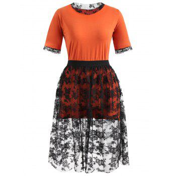 Plus Size Tee and Knee Length Lace Skirt - ORANGE 2X