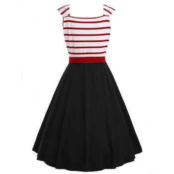 Button Embellished Striped Insert Vintage Dress - BLACK XL
