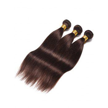 3Pcs Straight Real Natural Hair Weaves - DEEP BROWN 20INCH*20INCH*20INCH