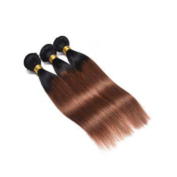 3Pcs Human Hair Ombre Straight Hair Weaves - multicolor 16INCH*16INCH*16INCH