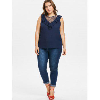 Plus Size Lace Panel Ruffle Blouse - CADETBLUE 2X