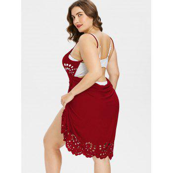 Plus Size Scalloped Cover Up Dress - WATERMELON PINK 3X