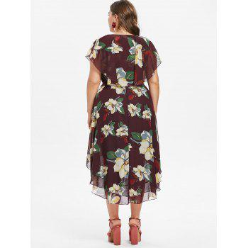 Plus Size Flower Capelet Dress - RED WINE L