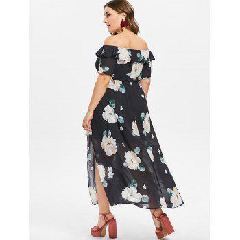 Plus Size Baring Shoulder Floral Slit Dress - BLACK L