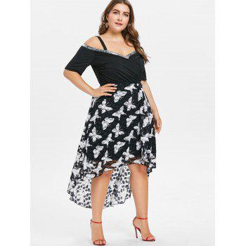 Plus Size Cold Shoulder High Low Dress - BLACK 2X