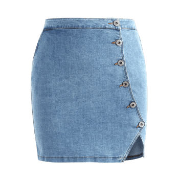 Plus Size Fitted Denim Skirt - DENIM BLUE 3X