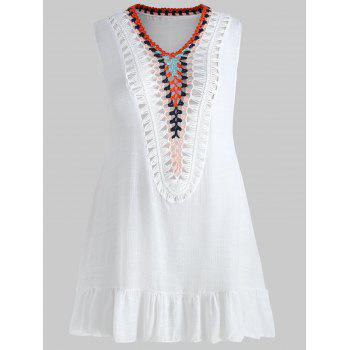 Plus Size Sleeveless Crochet Panel Cover Up - WHITE ONE SIZE