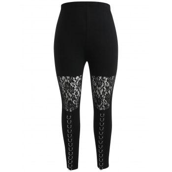 Plus Size Sheer Lace Insert High Waisted Leggings - BLACK 2X