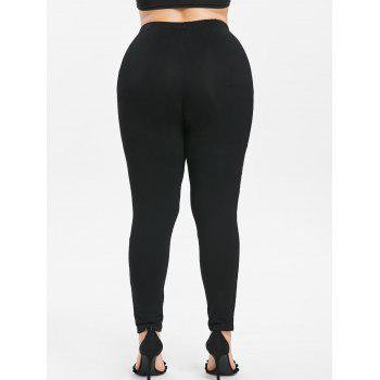 Plus Size Sheer Lace Insert High Waisted Leggings - BLACK 3X
