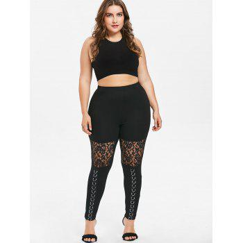Plus Size Sheer Lace Insert High Waisted Leggings - BLACK 1X