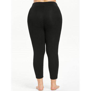 Plus Size Cutouts High Waisted Ankle Leggings - BLACK L