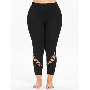 Plus Size Cutouts High Waisted Ankle Leggings - BLACK 1X