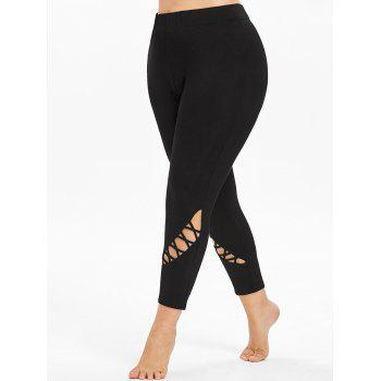 Plus Size Cutouts High Waisted Ankle Leggings - BLACK 2X