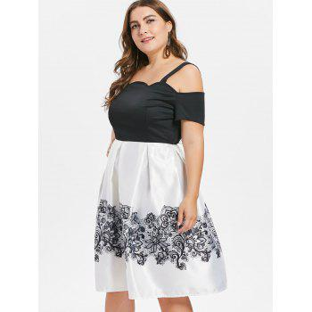 Open Back Plus Size Flare Dress - MILK WHITE 5X