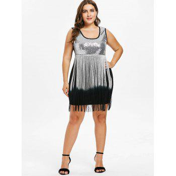Plus Size U Neck Fringed Bodycon Dress - BLACK 2X