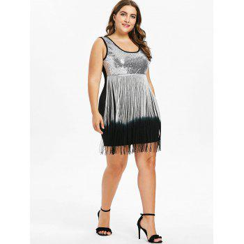 Plus Size U Neck Fringed Bodycon Dress - BLACK 4X