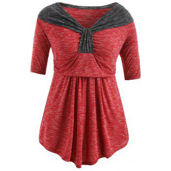 Plus Size Two Tone Empire Waist T-shirt - RED 2X