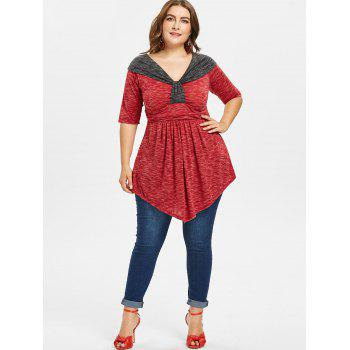 Plus Size Two Tone Empire Waist T-shirt - RED 5X