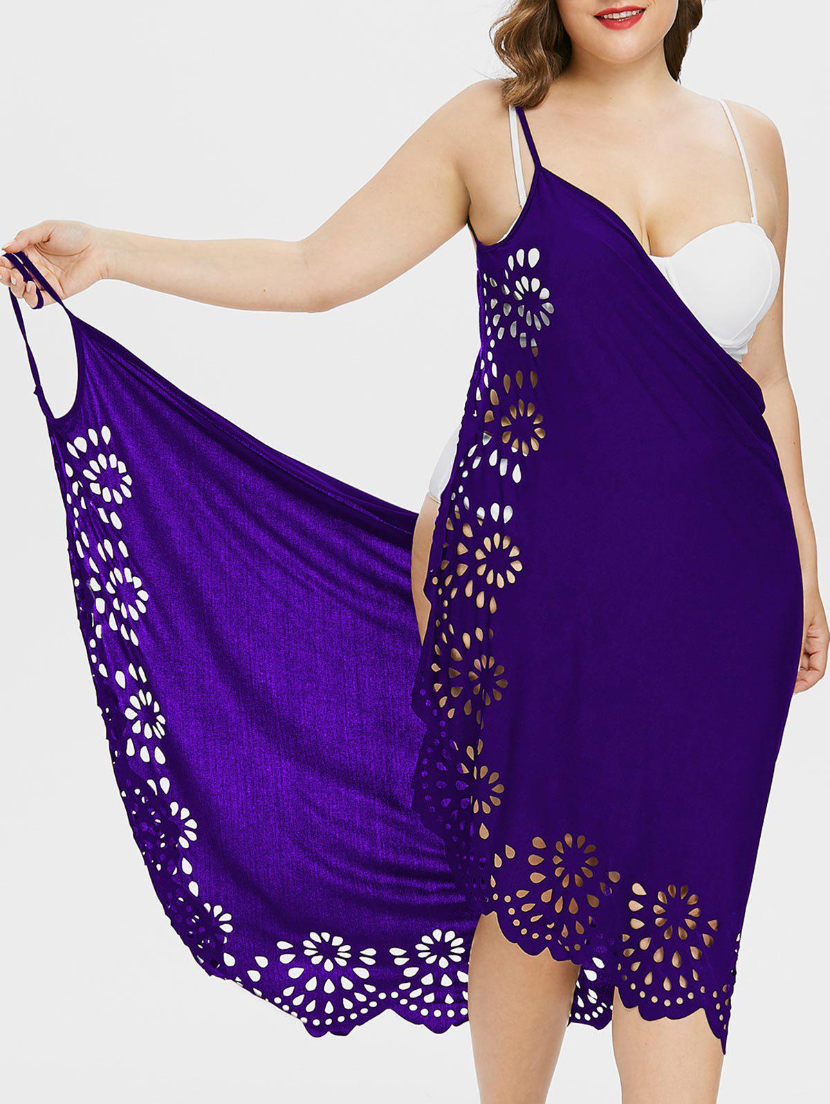 Plus Size Scalloped Cover Up Dress - PURPLE 1X