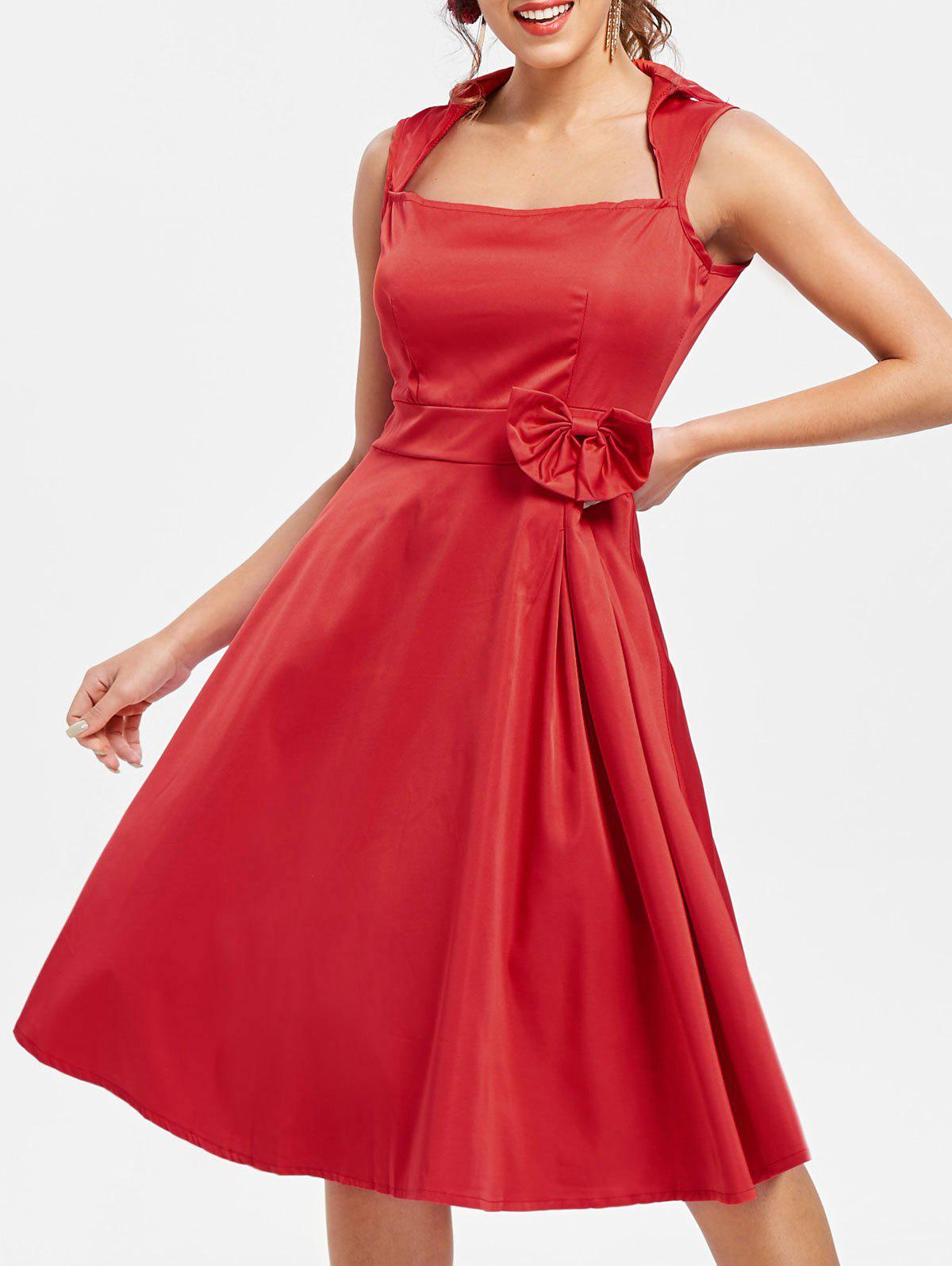 Vintage Turn-Down Collar Sleeveless Bowknot Embellished Rockabilly Style Dress - RED M