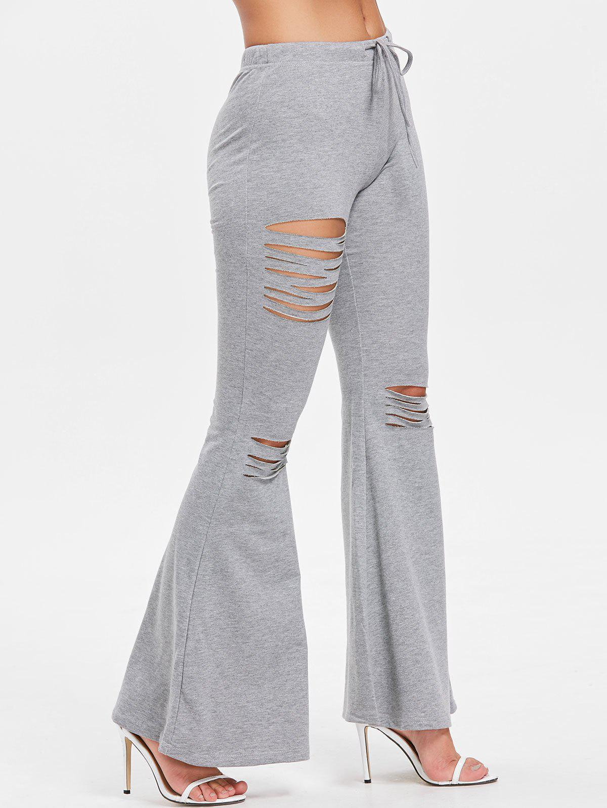 High Rise Ripped Bell Bottom Pants - GRAY 2XL