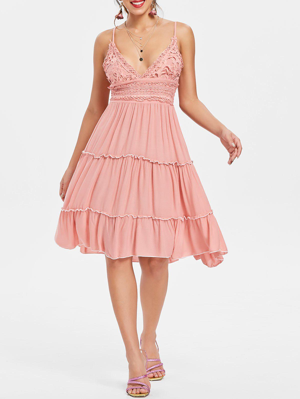 Spaghetti Strap Crochet Trim Cami Dress - Rose Léger M