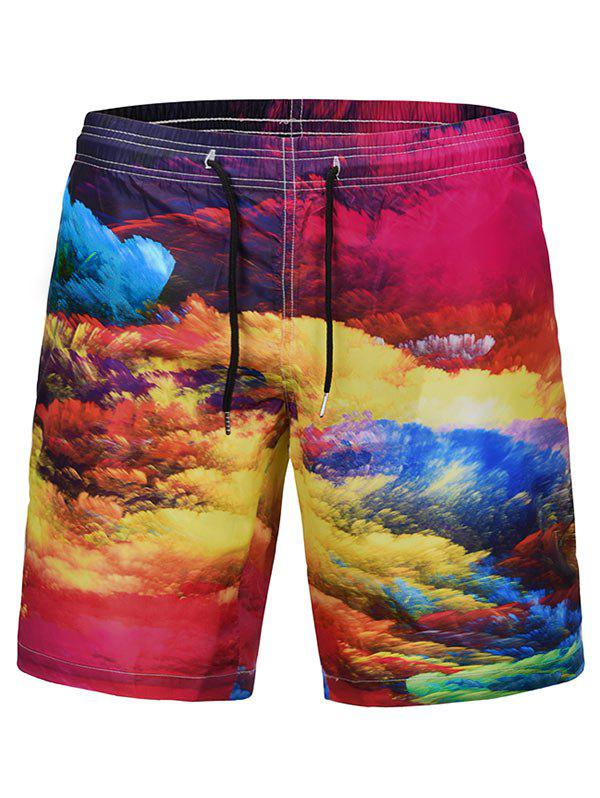 Colorful Clouds Print Quick Dry Swim Shorts - multicolor XL