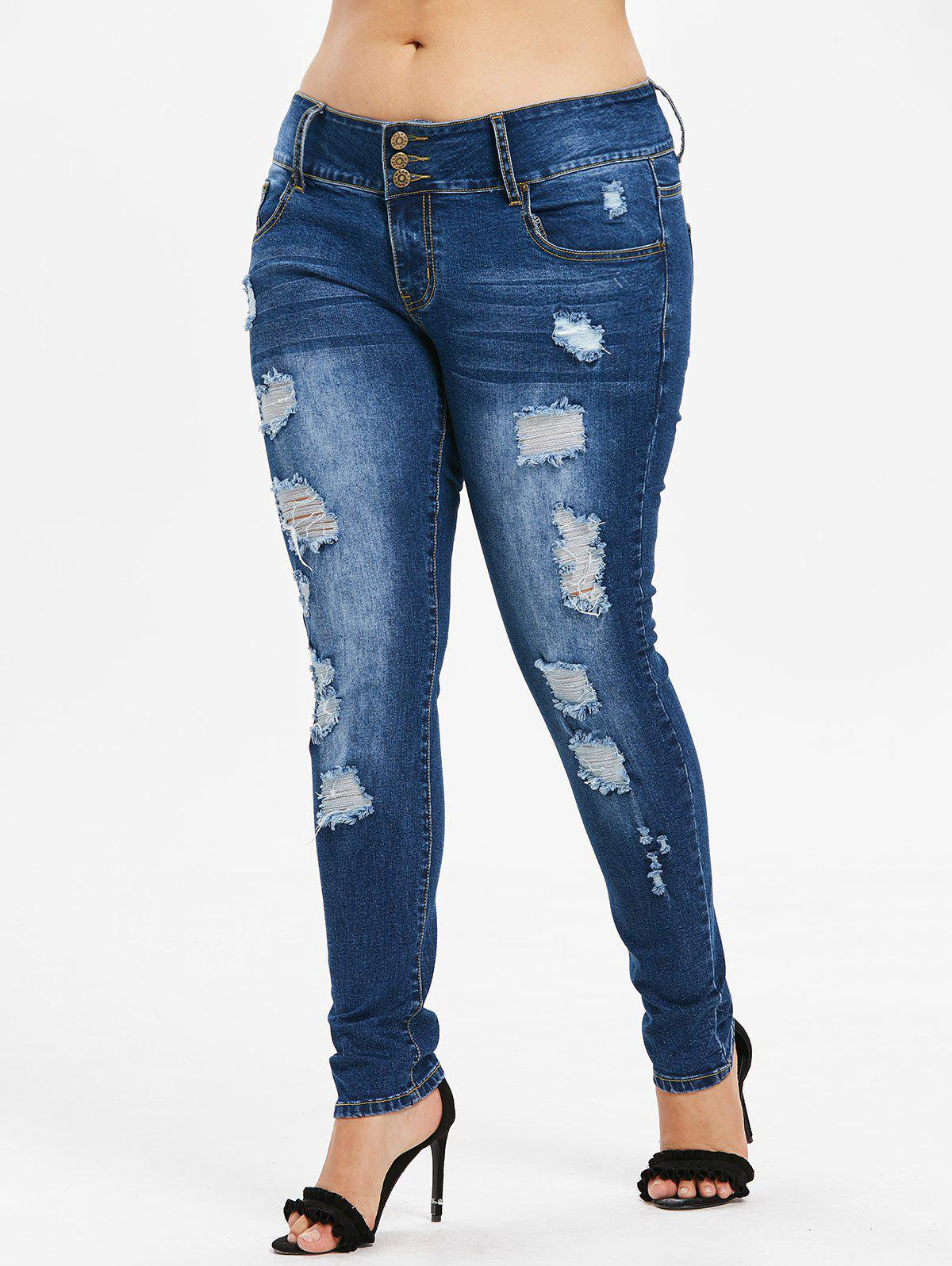 Plus Size Three Button Torn Jeans - DENIM DARK BLUE 4X