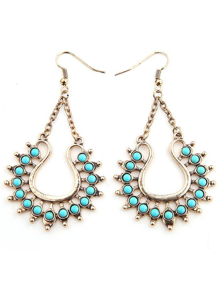 Vintage Faux Turquoise Bohemian Drop Earrings - GOLD