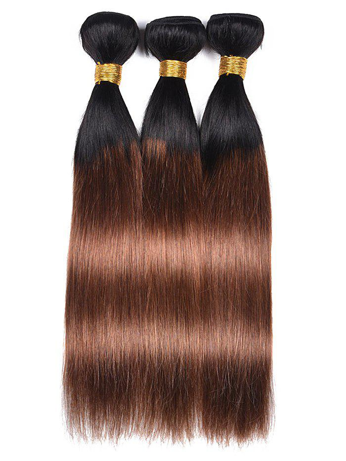 3Pcs Human Hair Ombre Straight Hair Weaves - multicolor 20INCH*20INCH*20INCH