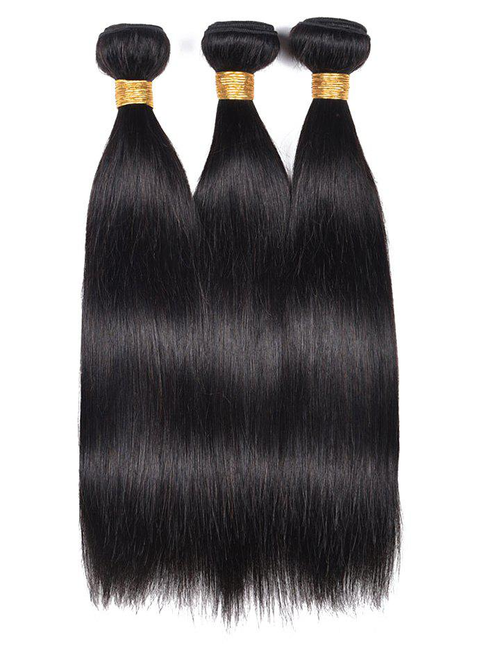Human Hair Straight 3Pcs Hair Weaves - BLACK 22INCH*22INCH*22INCH