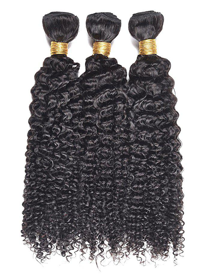 3Pcs Kinky Curly Human Hair Weaves - BLACK 16INCH*16INCH*16INCH