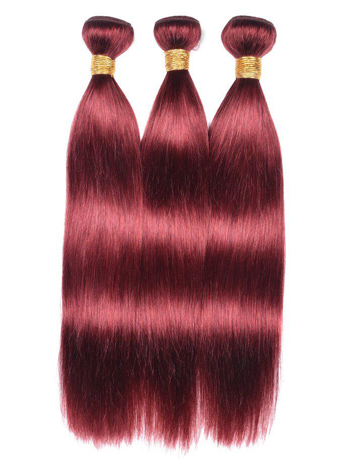 2018 3pcs Real Human Hair Straight Hair Weaves Red Wine Inch Inch