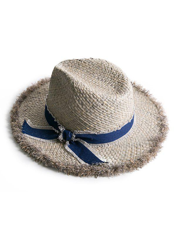 Bowknot Fuzzy Fringed Straw Sun Hat - DARK GRAY