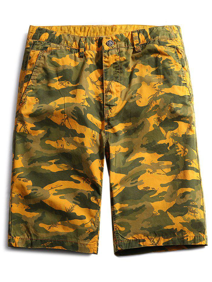 Casual Zip Fly Camo Shorts - BEE YELLOW M