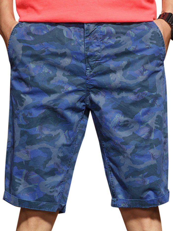 Casual Zip Fly Camo Shorts - DEEP BLUE M