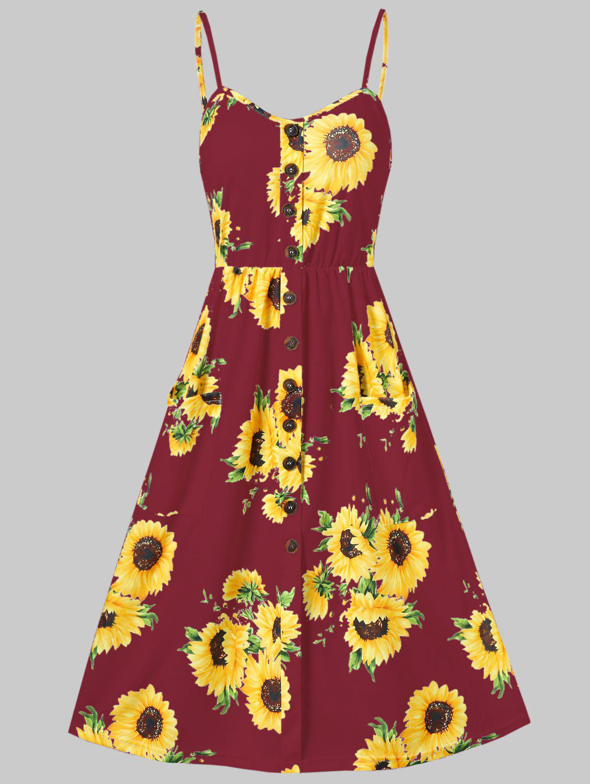 Sunflower Print Button Up A Line Cami Dress - RED WINE S