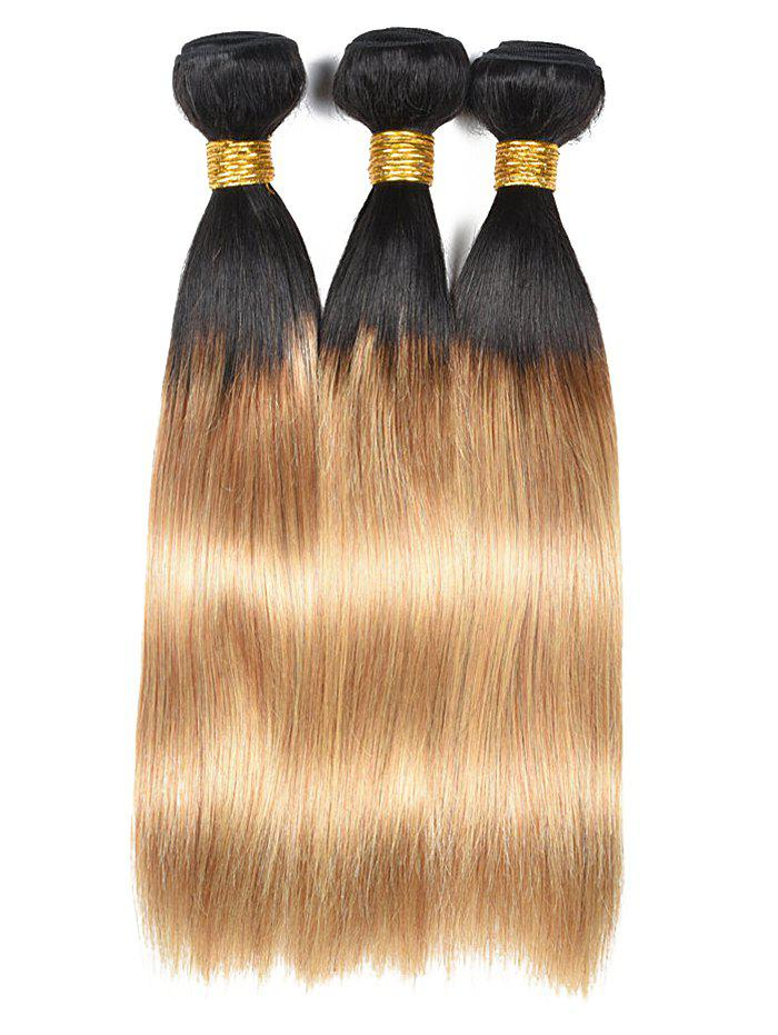 Indian Virgin Ombre Straight Human Hair Weaves - multicolor 24INCH*24INCH*24INCH
