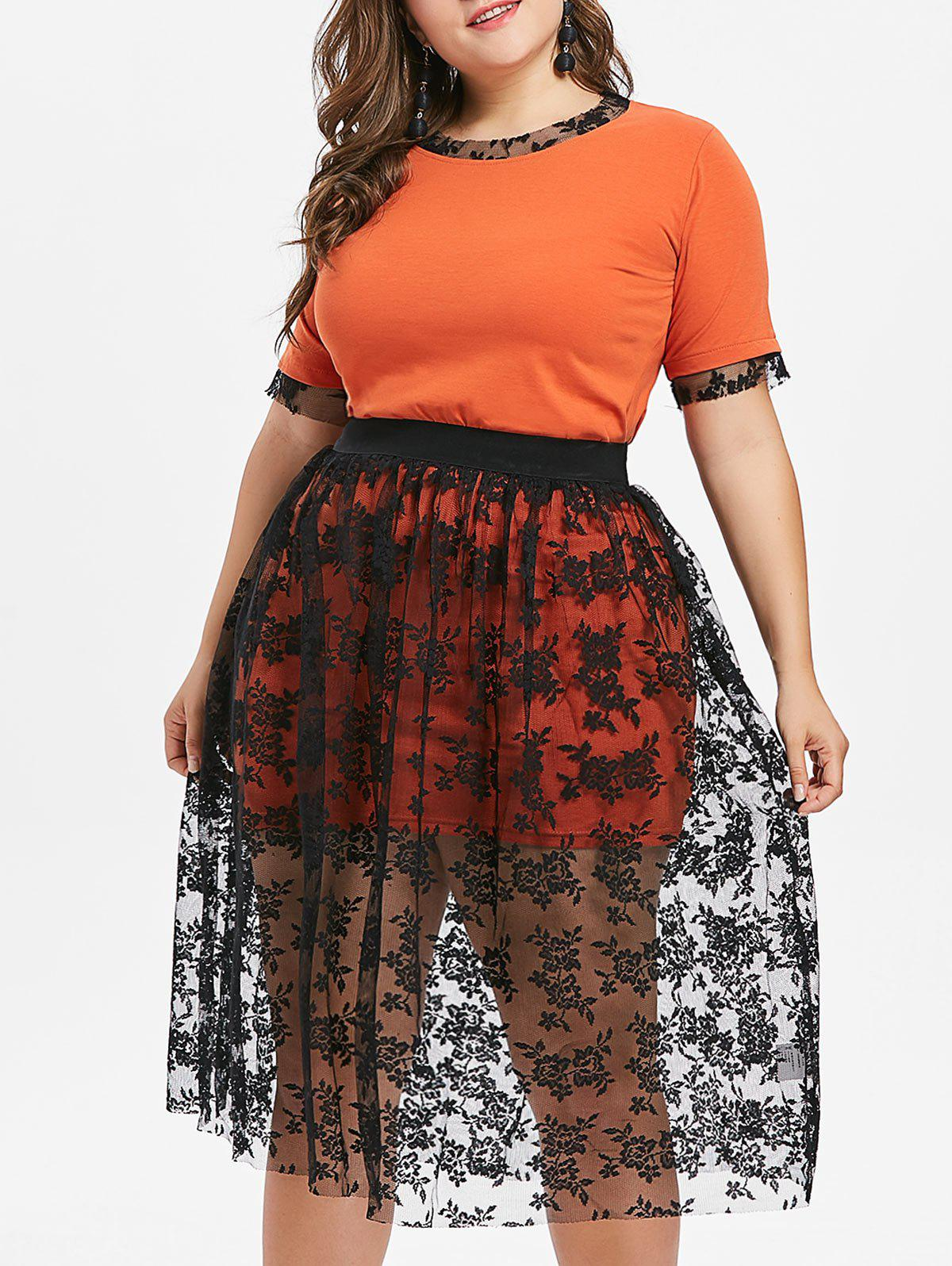 Plus Size Tee and Knee Length Lace Skirt - ORANGE 3X