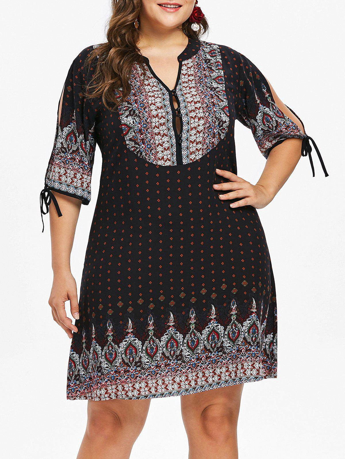 Plus Size Baroque V Neck Dress - BLACK L
