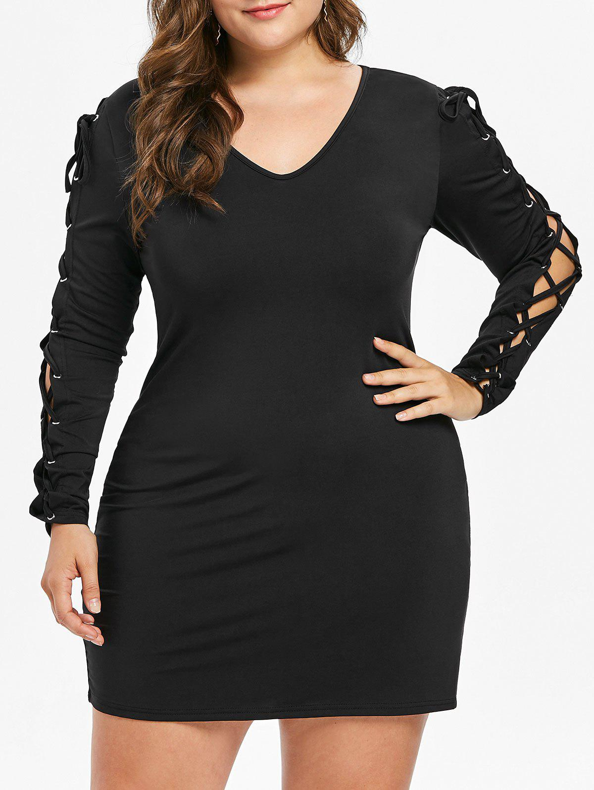 Lace Up Long Sleeve Plus Size Dress - BLACK L