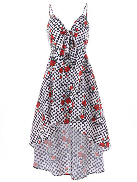 Polka Dot Rose Print Cami Strap Dress - multicolor L