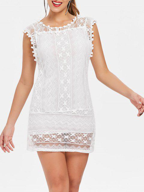 Simple Scoop Collar Sleeveless Solid Color Spliced See-Through Women's Dress - WHITE S