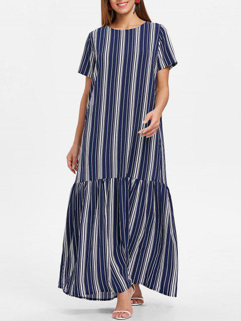 Drop Waist Striped Maxi Dress - multicolor L
