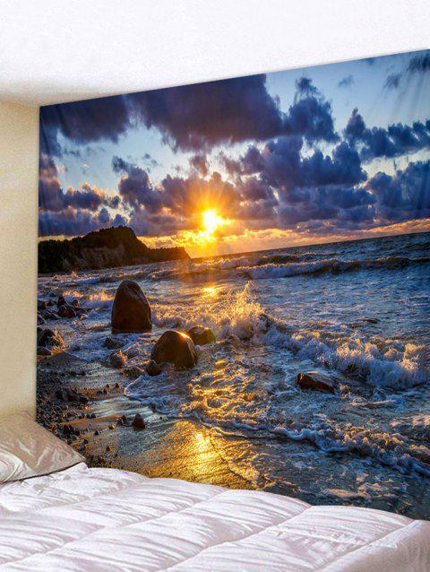 Sunset Sea Beach Pattern Wall Tapestry Decor - DEEP BLUE W91 INCH * L71 INCH