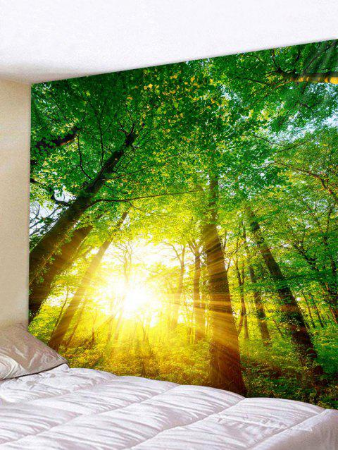 Forest Sunshine Pattern Wall Tapestry Hanging Decor - FOREST GREEN W79 INCH * L59 INCH